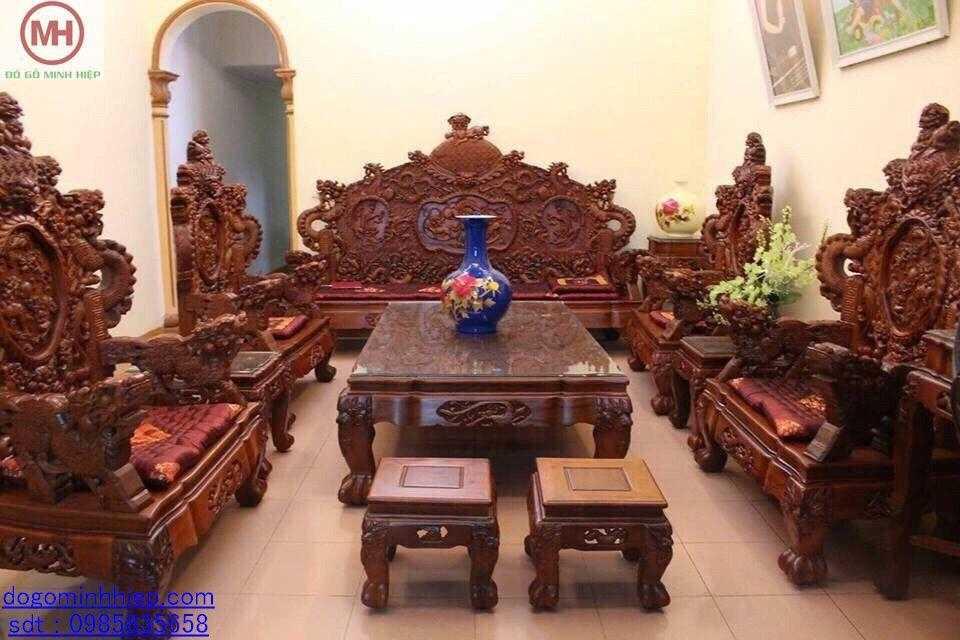 Bộ ghế đỉnh rồng 10 món gỗ gụ