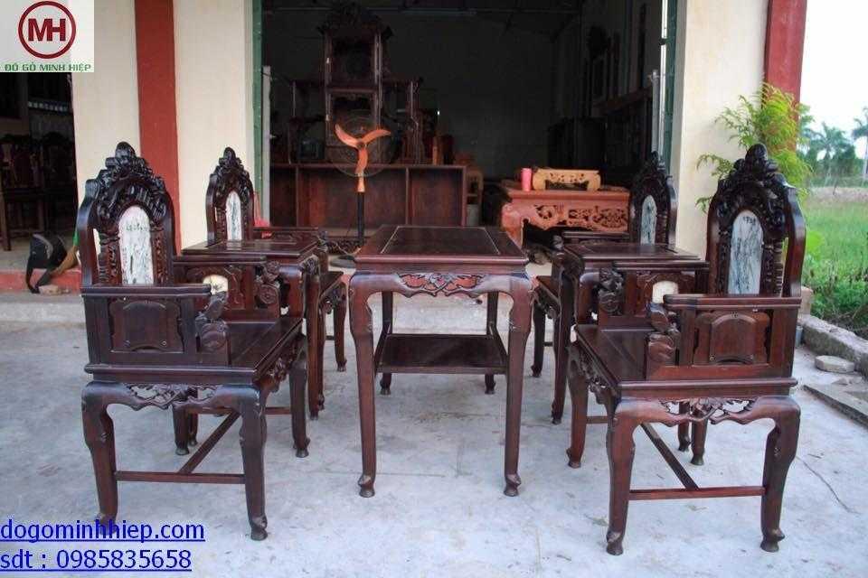 Bộ bàn ghế vách cổng thành gỗ gụ