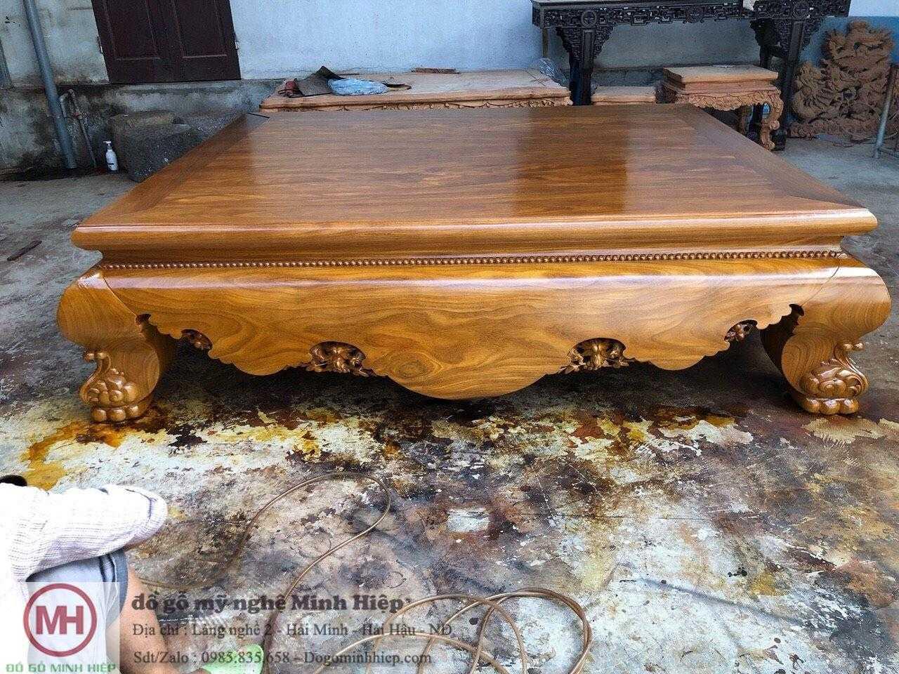 Sập trơn gỗ cẩm vàng vân gỗ cực chất