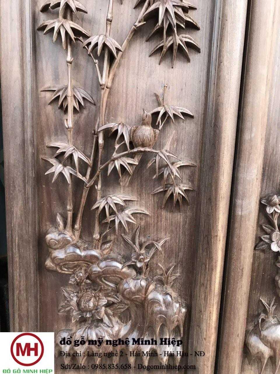 tranh gỗ tùng cúc trúc mai