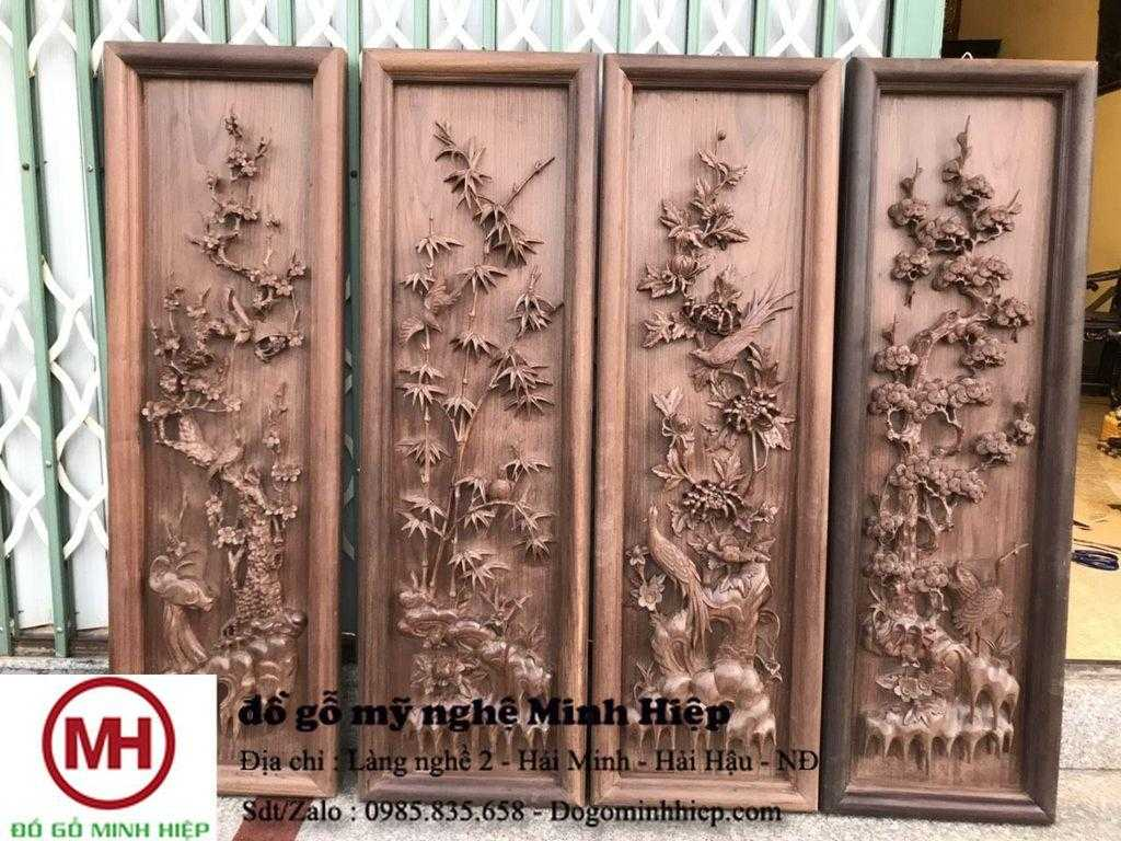 Tranh gỗ tứ quý đục tay gỗ gụ