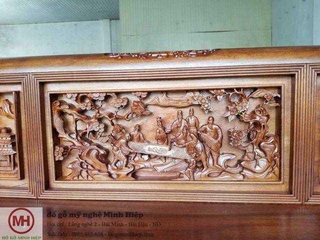 """Mẫu bàn ghế gỗ cổ xưa đẹp: Bộ ghế trường kỷ đục tích """"thiên hạ thái bình"""""""