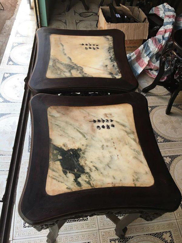 Đôn gỗ đục lựu vuông