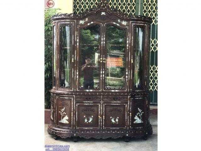 Tủ bày đồ luois khảm ốc gỗ gụ sang trọng