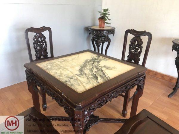 bộ bàn ăn đục sen