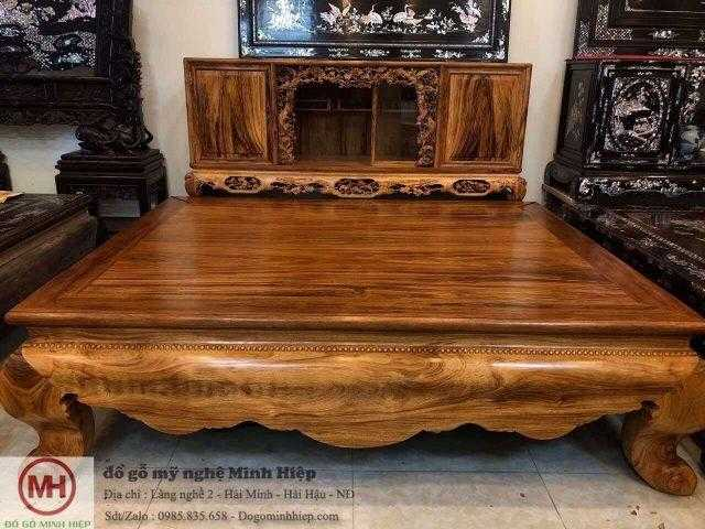 Sập trơn gỗ gụ Quảng Bình vân gỗ siêu đẹp