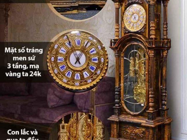 Mẫu đồng hồ cây cổ bằng gỗ với máy cơ hiện đại