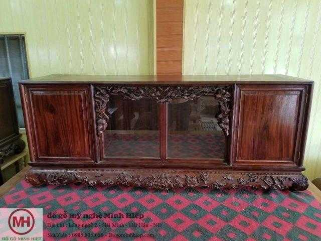 Tủ chè gỗ gụ tích hoa sen – mã TU5185