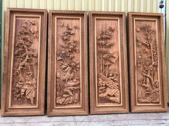 Tranh tứ quý đục gỗ gõ – mã 5486