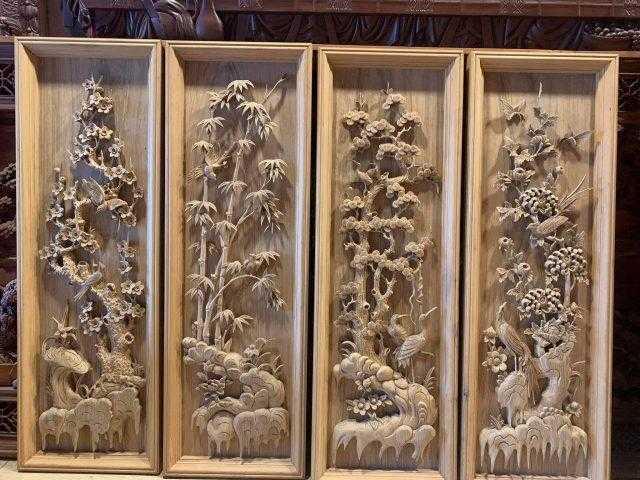 Tranh tứ quý gỗ gụ – mã 5490