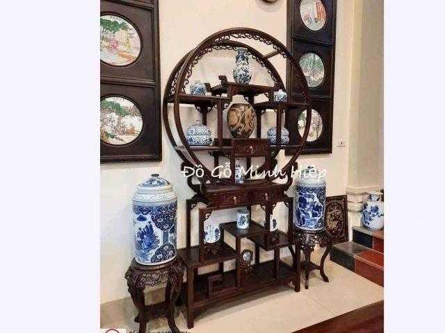 Tủ bày đồ tròn gỗ gụ– Mã5742