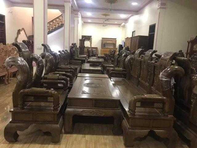 Bộ bàn ghế tần gỗ mun – mã 5966