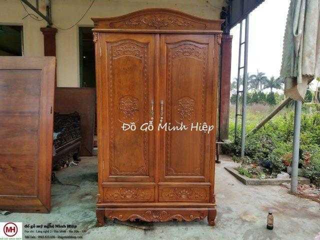 Tủ quần áo 2 buồng gỗ gụ – mã 5892